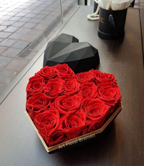 diamantenherz-schwarz rote rosen