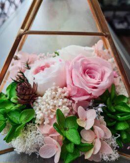 Goldenes Terrarium rosa-grüner Mix