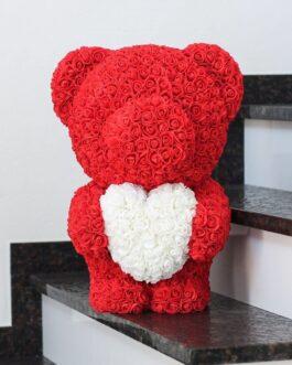Roter Rosenbär mit Herz L