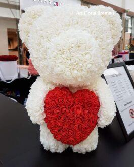Weißer Rosenbär mit Herz L