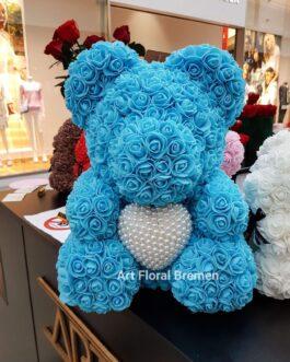 Blauer Bär mit Perlenherz M