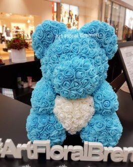 Blauer Bär mit Rosenherz M