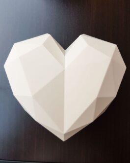 Diamant-Herz weiß mit roten Rosen